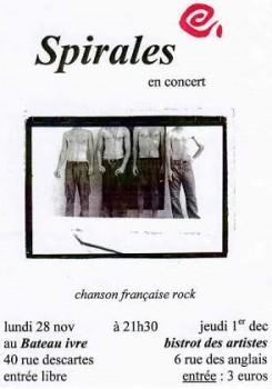 Affiche du concert de Spirales