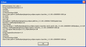 Eclipse laucnher: JVM terminated, exit code -1