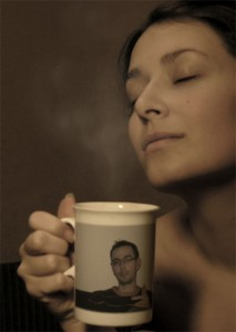 My photo placed on the mug hold by a nice woman