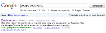 Google search extended with bookmarks