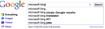 Bing steals results from Google