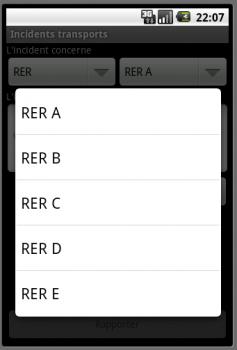 Capture d'écran de la DropDownlist de sélection de ligne