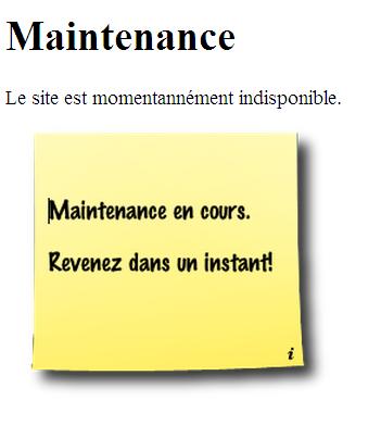 Capture d'écran page maintenance
