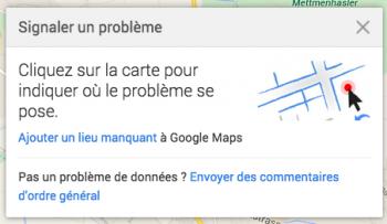 """""""Ajouter un lieu"""" dans """"Signaler un problème"""""""