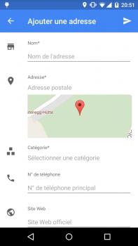 Écran d'ajout d'un nouveau lieu dans Google maps.